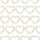 Seamless pattern of hearts lined color paper clips — Stock vektor