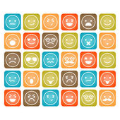 Set of color smiley icons isolated — Stock Vector