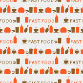 Seamless background of fast food icons and hand drawn texts — Stock Vector