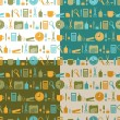 Set of seamless patterns of office stationery icons — Stock Vector #45196001