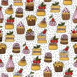 Seamless pattern of hand drawn cakes, desserts — Stock Vector #45445007
