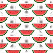 Padrão sem emenda de melancias pixel — Vetor de Stock