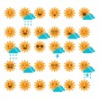 Set of suns with different emotions, smiling and sad suns — Stock Vector
