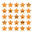 Set of stars with different emotions, happy, sad, smiling icons — Stock Vector #47337241