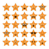 Set of stars with different emotions, happy, sad, smiling icons  — Stock Vector