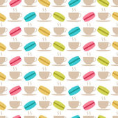 Seamless pattern of macaroons and tea — Stock Vector