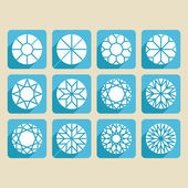 Conjunto de muestras de corte, diamantes, piedras preciosas — Vector de stock