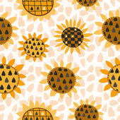 Seamless pattern with sunflower and seeds — Stock Vector
