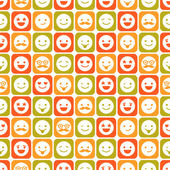 Seamless pattern of color smile, different emotions — Stock Vector