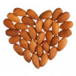 Almond heart isolated on white background — Stock Photo #18138915
