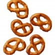 Pretzels isolated on white background, close-up — Stock Photo