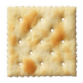 Saltine soda cracker isolated on white background — Stock Photo