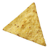 Corn tortilla chip isolated on white background — Stock Photo