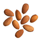 Almonds isolated on white background — Stock Photo