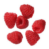 Raspberries isolated on white background, close-up — Stock Photo