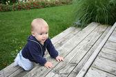 Baby crawling outside — Stock Photo