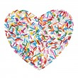 Colorful candy sprinkles heart isolated on white background — Stock Photo