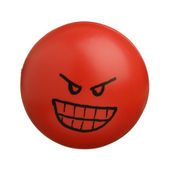 Red angry face ball isolated on white background — Stock Photo