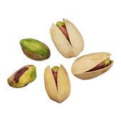 Pistachios nuts isolated on white background, close up — Stock Photo