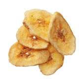 Dried banana chips isolated on white background — Stock Photo