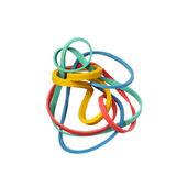 Tangled colorful elastic rubber bands isolated on a white backgr — Stock Photo