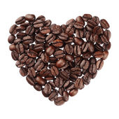 Coffee beans heart isolated on white background close up — Stock Photo