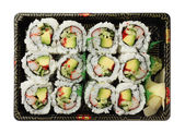 California rolls  sushi tray isolated on white background top vi — Stock Photo