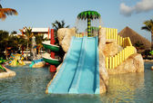 Kids water park with water slides in Dominican Republic, Punta C — Zdjęcie stockowe