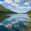 Постер, плакат: Tranquil Lake With Fluffy Cloud Reflection