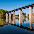 Historic Railroad Trestle Reflection - Stock Photo