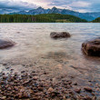 Mountain Peaks with Three Rocks in Lake — Stock Photo #17389625