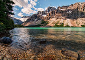 Icefields Parkway Bow Lake With Mountains — Stock Photo