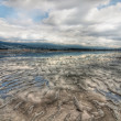 Stock Photo: Vast Ripple Beach Landscape With Cloud Reflection