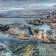 Rocky Shoreline On Grey Morning — Stock Photo