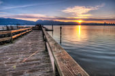 Pier With Sunrise Sunstar — Stock Photo