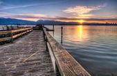 Pier With Sunrise Sunstar — Stock Photo