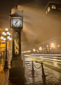 Gastown Steam Clock with Car Light Streaks — Stock Photo