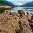 Rocks Along Shore of Lake — Stok fotoğraf
