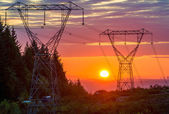 Power Lines At Sunset — Stock Photo