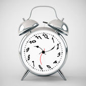 Silver alarm clock twisted — Stock Photo