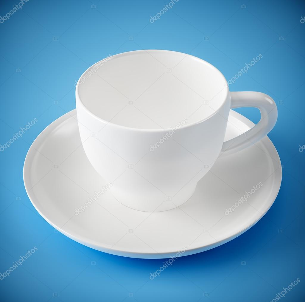 蓝色背景上的白色杯子