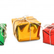 Red green yellow christmas gift boxes isolated — Stock Photo