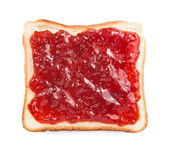 Slice of bread with strawberry jam — Stock Photo