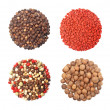 Set of four different spices round shape on white — Stock Photo #18165835
