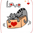 Stock Photo: Valentine card with cat lying on the gift