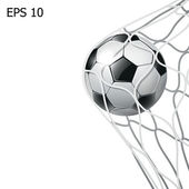 Balón de fútbol aislados en la meta neta — Foto de Stock