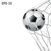 孤立的足球球在目标网 — 图库照片