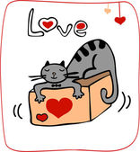 Valentine card with cat lying on the gift — Stock Photo