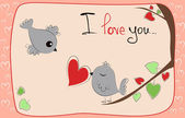 Valentine card with two birds on love tree — 图库照片