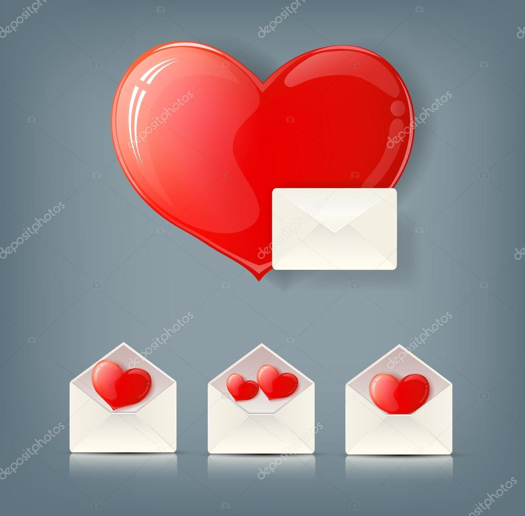 Valentine collection with envelopes and hearts eps10 illustration — Stock Photo #19603533